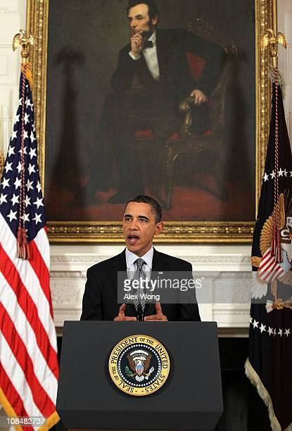 President Barack Obama makes a statement to the media at the State Dining Room of the White House January 28, 2011 in Washington, DC. Obama made a...
