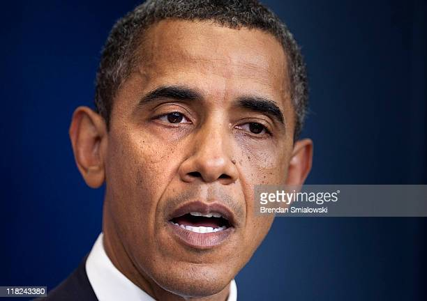 S President Barack Obama makes a statement to the media during a daily briefing at the White House July 5 2011 in Washington DC President Obama...