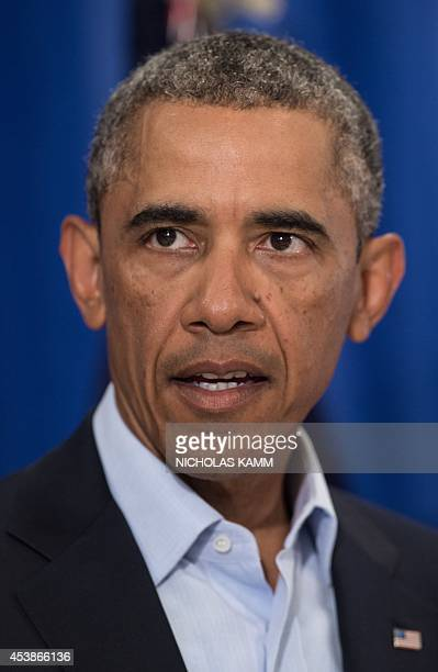 US President Barack Obama makes a statement to the press on the death of American journalist James Foley at Martha's Vineyard Massachusetts August 20...