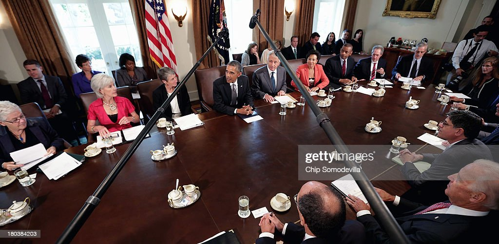 President Obama Holds Cabinet Meeting : News Photo