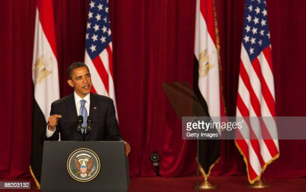 S President Barack Obama makes his key Middle East speech at Cairo University June 4 2009 in Cairo Egypt In his speech President Obama called for a...