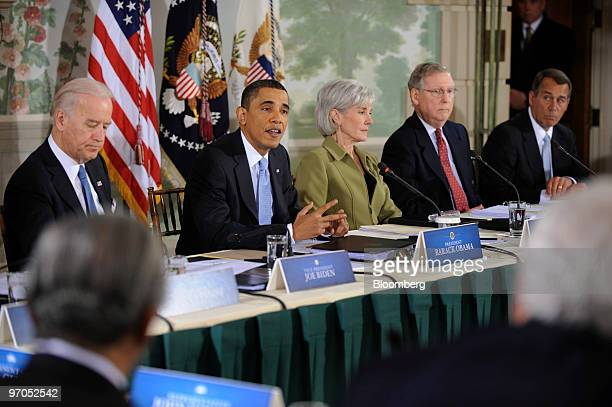 US President Barack Obama makes opening remarks at a bipartisan summit on health care in Washington DC US on Thursday Feb 25 2010 Appearing from left...
