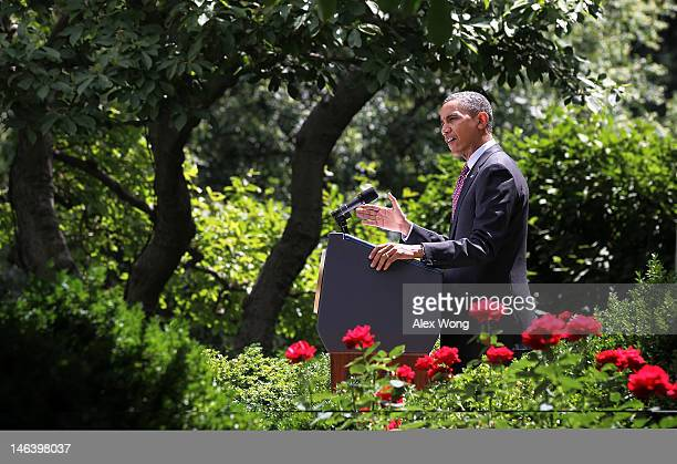 S President Barack Obama makes remarks about the Department of Homeland Security's recent announcement about deportation of illegal immigrants in the...