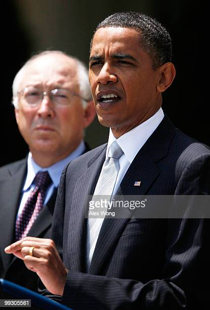 S President Barack Obama makes remarks as Secretary of Interior Ken Salazar looks on in the Rose Garden May 14 2010 at the White House in Washington...