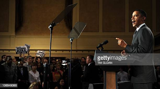 President Barack Obama makes remarks at a fund raising event where protesters got into the room at the Roosevelt Hotel on September 22, 2010 in New...