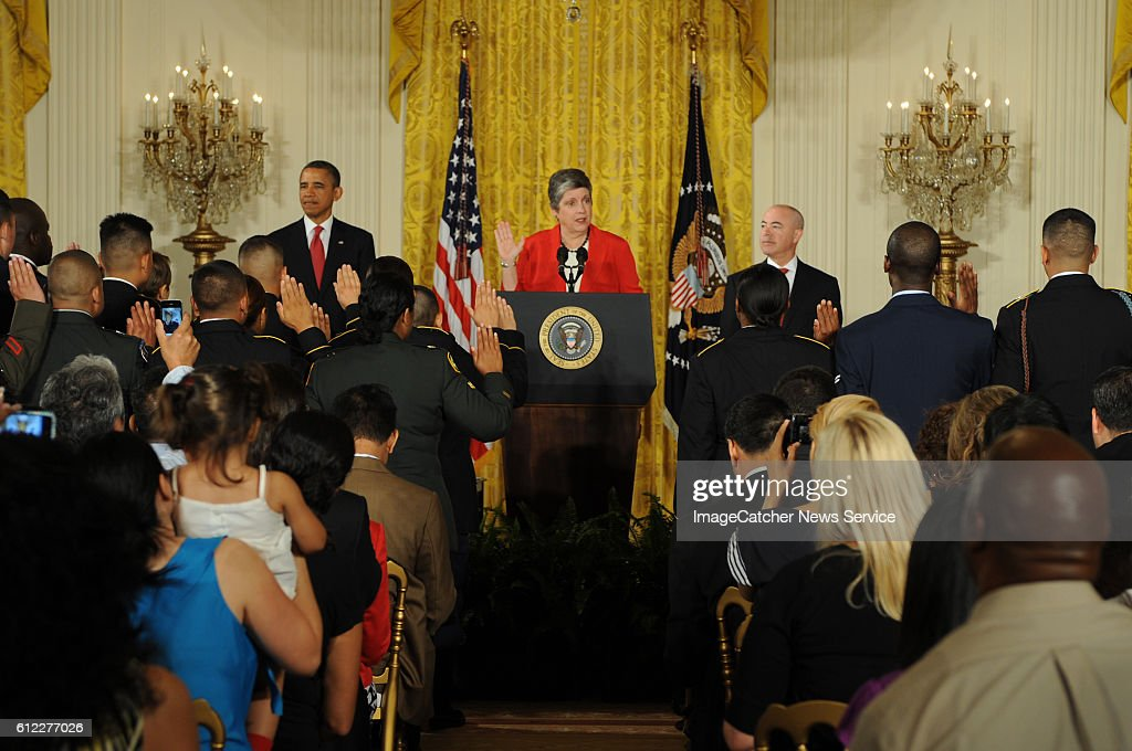 President Barack Obama makes remarks at a naturalization ceremony for active duty service members in the East Room. U.S. Citizenship and Immigration Services Director Alejandro Mayorkas will present the countries of the candidates for naturalization and Secretary of Homeland Security Janet Napolitano delivers the oath of allegiance.