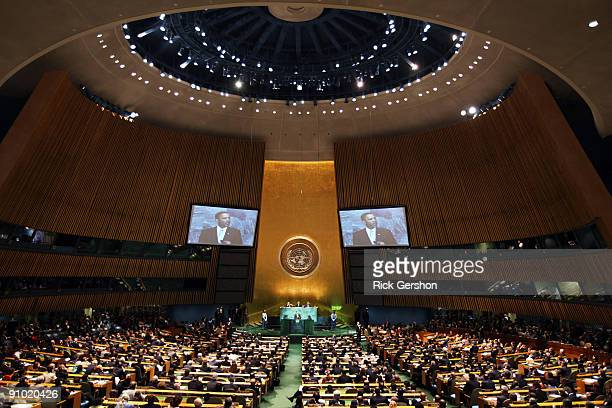 President Barack Obama makes remarks at United Nations Secretary General Ban Ki-moon's summit on climate change at United Nations headquarters...