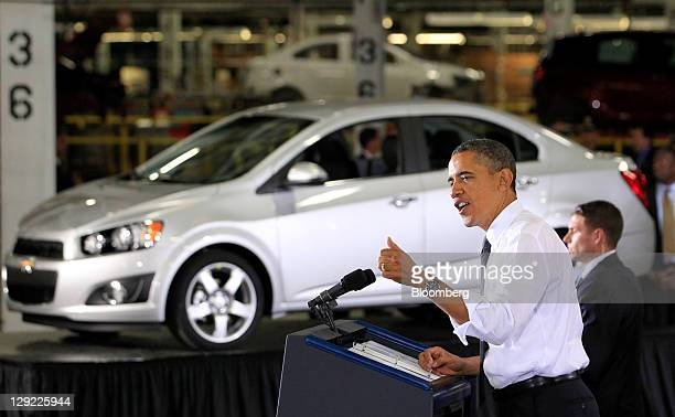 President Barack Obama makes remarks during an event at the General Motors Co. Orion Assembly Plant with Lee Myung-bak, president of South Korea,...