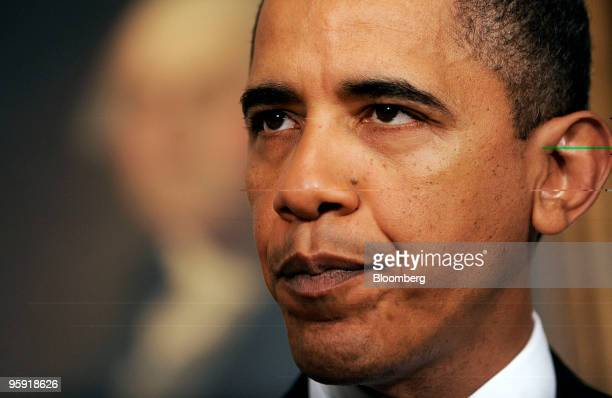 US President Barack Obama makes remarks on financial reform in the Diplomatic Reception Room of the White House in Washington DC US on Thursday Jan...