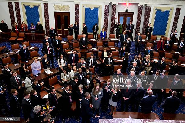 President Barack Obama makes remarks talk during an opening ceremony for a lifesize replica of the Senate Chamber that was part of the dedication...
