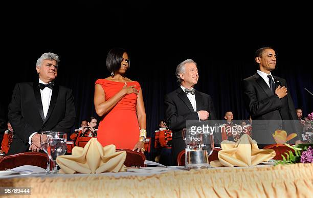 S President Barack Obama Matt Winkler from Bloomberg News First Lady Michelle Obama and comedian Jay Leno stand during the White House...