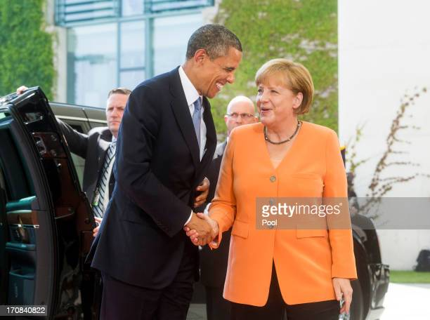 S President Barack Obama meets German Chancellor Angela Merkel for bilateral talks at the Chancellery on June 19 2013 in Berlin Germany Obama is...