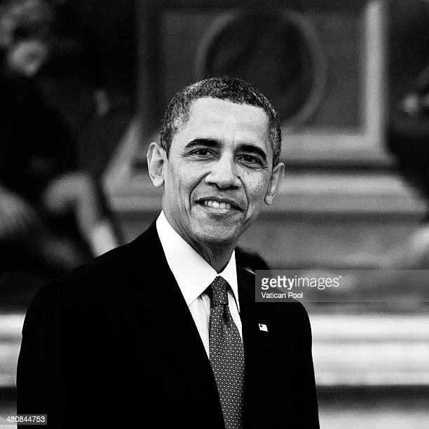 US President Barack Obama meets Pope Francis at his private library in the Apostolic Palace on March 27 2014 in Vatican City Vatican The Pope...