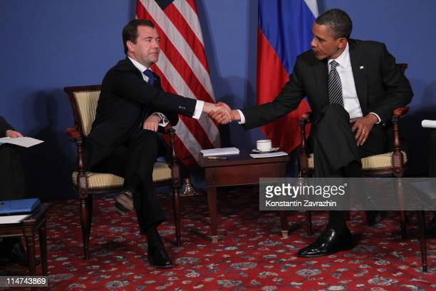 S President Barack Obama meets Russian President Dmitry Medvedev during the G8 Summit on May 26 2011 in Deauville France The meeting included...