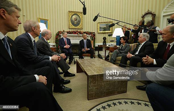 S President Barack Obama meets with a group of newly elected governors Governorelect Charlie Baker of Massachusetts Governorelect Bruce Rauner of...