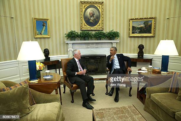 S President Barack Obama meets with Australian Prime Minister Malcolm Turnbull in the Oval Office of the White House January 19 2016 in Washington DC...
