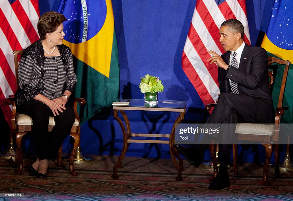U.S. President Barack Obama (R) meets with Brazil President Dilma Rousseff at the United Nations September 20, 2011 in New York City. The United Nations General Assembly kicks off September 21, with leaders from around the world attending.