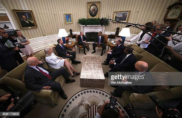 S President Barack Obama meets with business government and national security leaders in the Oval Office of the White House September 16 2016 in...