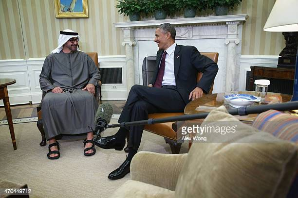 S President Barack Obama meets with Crown Prince Mohammed Bin Zayed Al Nahyan of Abu Dhabi and deputy supreme commander of the United Arab Emirates...
