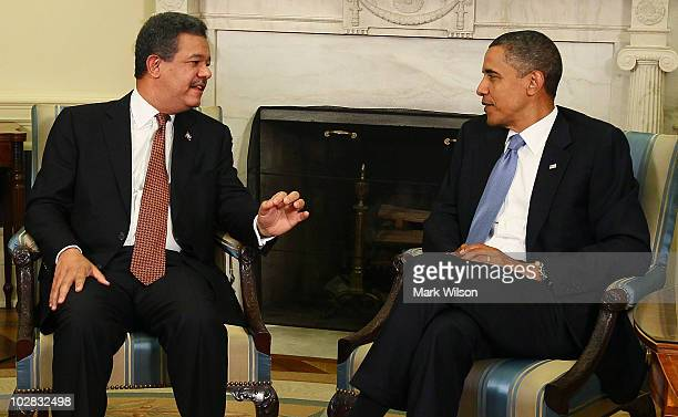 S President Barack Obama meets with Dominican Republic President Leonel Fernandez in the Oval Office of the White House on July 12 2010 in Washington...