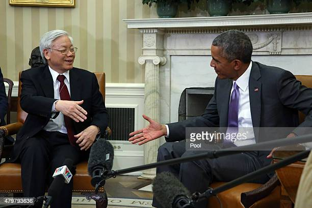 President Barack Obama meets with General Secretary Nguyen Phu Trong of Vietnam in the Oval Office of the White House July 7, 2015 in Washington, DC....