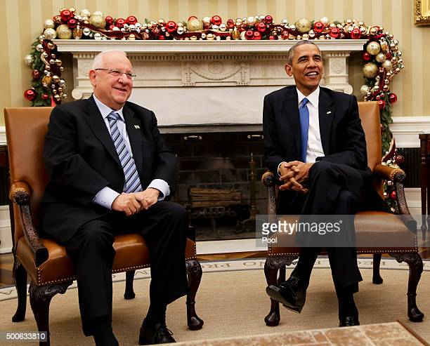 President Barack Obama meets with Israeli President Reuven Rivlin during a bilateral meeting in the Oval Office of the White House on December 9,...