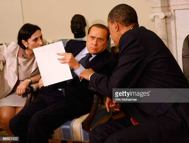 S President Barack Obama meets with Italian Prime Minister Silvio Berlusconi in the Oval Office of the White House June 15 2009 in Washington DC...