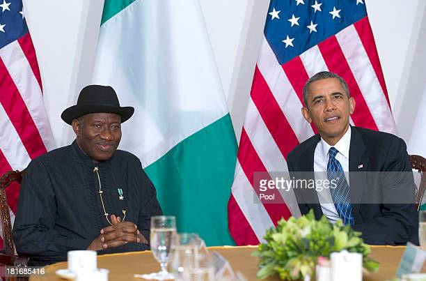 US President Barack Obama meets with Nigerian President Goodluck Jonathan on September 23 2013 in New York City Both Obama and Jonathan expressed...
