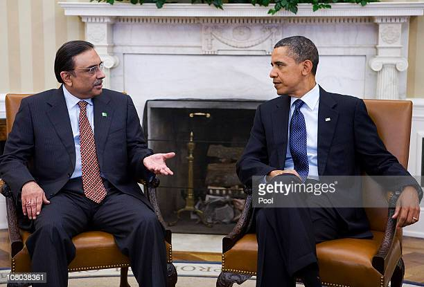 President Barack Obama meets with Pakistan's President Asif Ali Zardari in the Oval Office of the White House December 14, 2011 in Washington, DC....