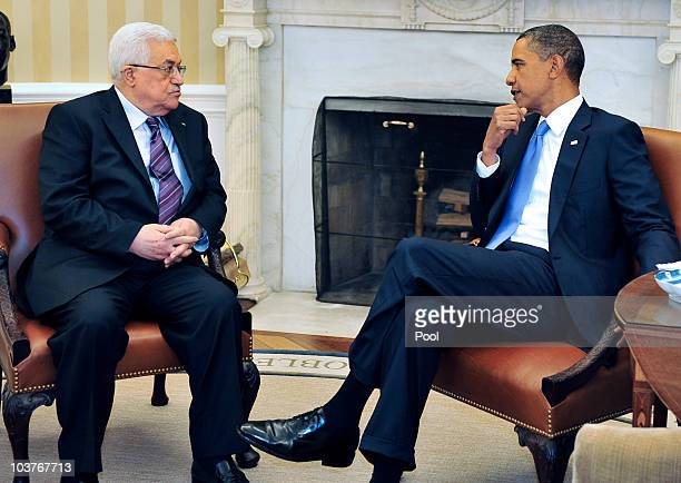 President Barack Obama meets with Palestinian Authority President Mahmoud Abbas in the Oval Office of the White House September 1, 2010 in...