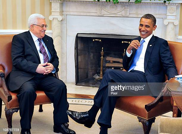 S President Barack Obama meets with Palestinian Authority President Mahmoud Abbas in the Oval Office of the White House September 1 2010 in...