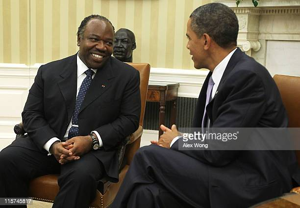 S President Barack Obama meets with President Ali Bongo Ondimba of Gabon in the Oval Office of the White House June 9 2011 in Washington DC The two...