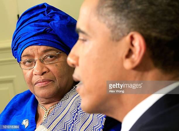 S President Barack Obama meets with President Ellen Johnson Sirleaf of Liberia in the Oval Office of the White House May 27 2010 in Washington DC...