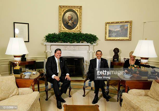 S President Barack Obama meets with President of Peru Alan Garcia in the Oval Office of the White House June 1 2010 in Washington DC Obama was...