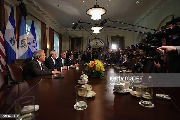 President Barack Obama meets with President Otto Perez Molina of Guatemala, President Juan Orlando Hernandez of Honduras, and President Salvador...
