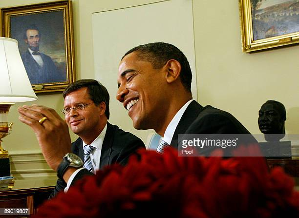 US President Barack Obama meets with Prime Minister Jan Peter Balkenende of the Netherlands in the Oval Office of the White House July 14 2009 in...