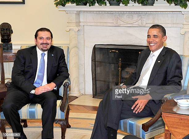 US President Barack Obama meets with Prime Minister Saad Hariri of Lebanon in the Oval Office on May 24 2010 in Washington DC Hariri is on his first...