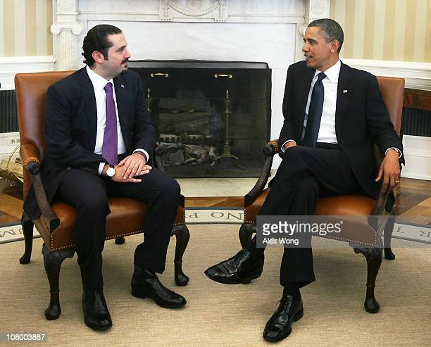 US President Barack Obama meets with Prime Minister Saad Hariri of Lebanon in the Oval Office of the White House January 12 2011 in Washington DC...