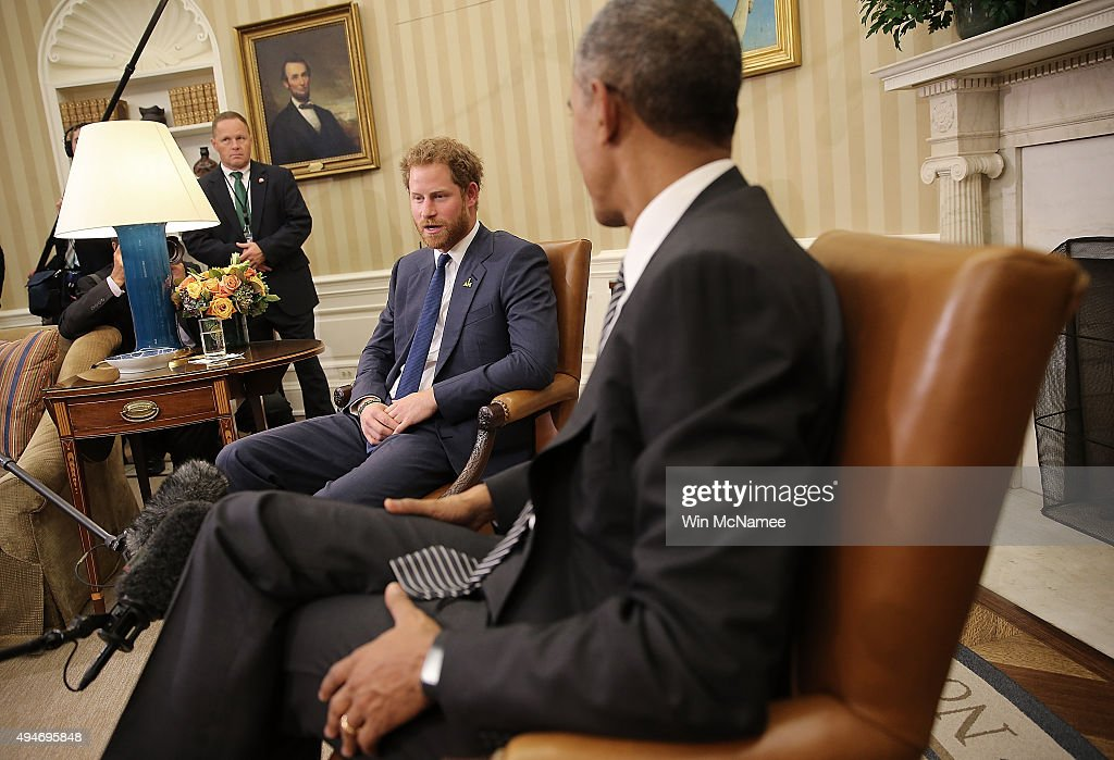 U.S. President Barack Obama meets with Prince Harry in the Oval Office of the White House October 28, 2015 in Washington, DC. Prince Harry is on a one day visit to the Washington DC area and met earlier in the day with wounded U.S. military personnel at Fort Belvoir, Virginia.