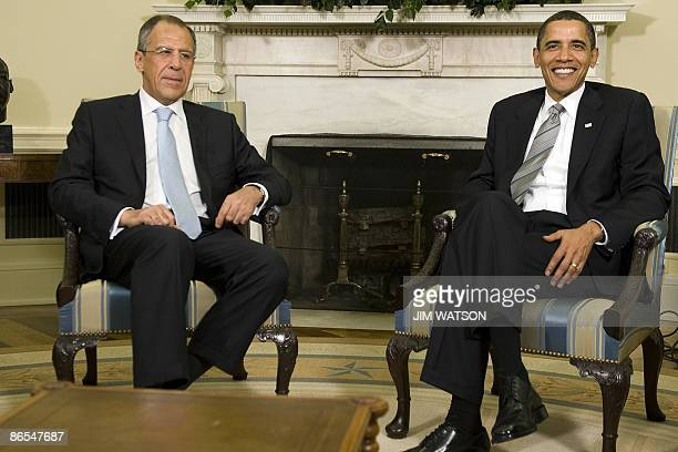 US President Barack Obama meets with Russian Foreign Minister Sergei Lavrov in the Oval Office of the White House in Washington DC May 7 2009 AFP...