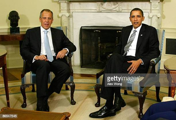 S President Barack Obama meets with Russian Foreign Minister Sergey Lavrov in the Oval Office of the White House May 7 2009 in Washington DC Lavrov...