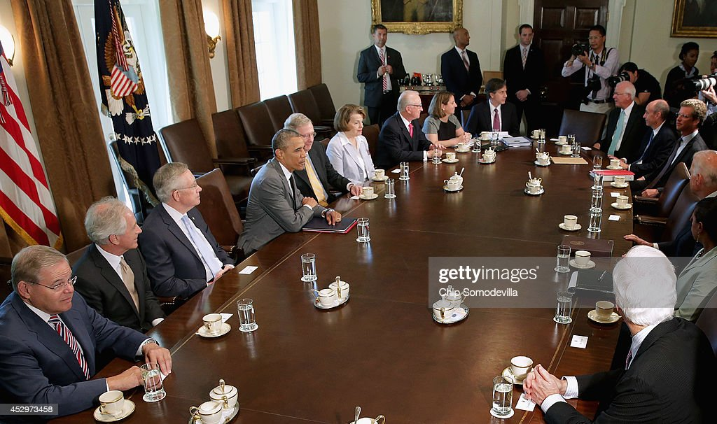Obama And Biden Meet With Members Of Congress On Foreign Policy At White House