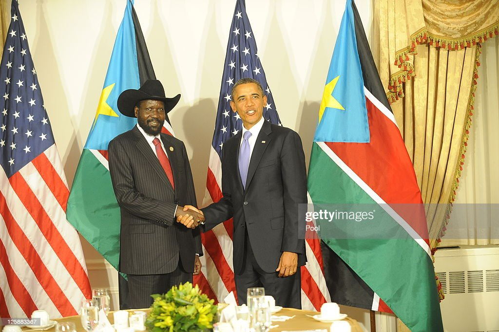 U.S. President Barack Obama meets with South Sudan President Salva Kiir Mayardit at the Waldorf Astoria Hotel September 21, 2011 in New York City. World leaders have converged on Manhattan for the annual opening of the United Nations General Assembly.