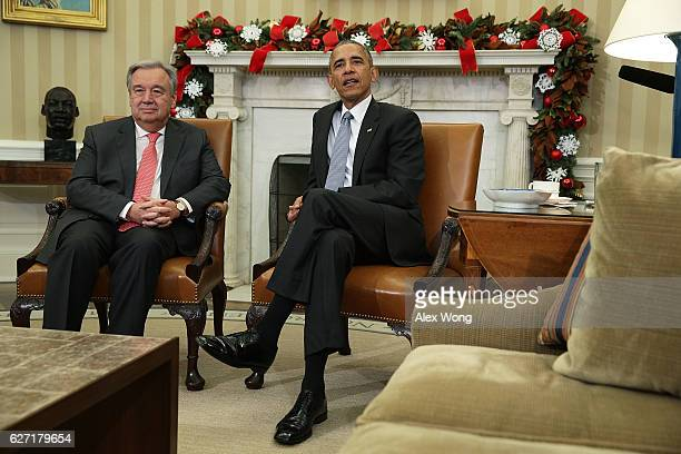 S President Barack Obama meets with United Nations SecretaryGeneraldesignate Antonio Guterres in the Oval Office December 2 2016 at the White House...