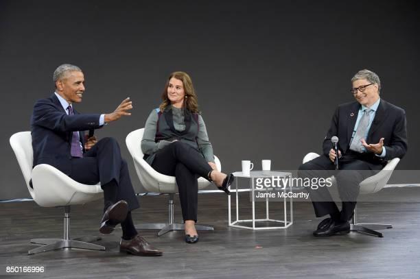 President Barack Obama, Melinda Gates and Bill Gates speak at Goalkeepers 2017, at Jazz at Lincoln Center on September 20, 2017 in New York City....