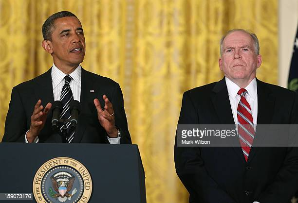 S President Barack Obama nominates chief counterterrorism adviser John Brennan to be CIA Director during an event in the East Room at the White House...