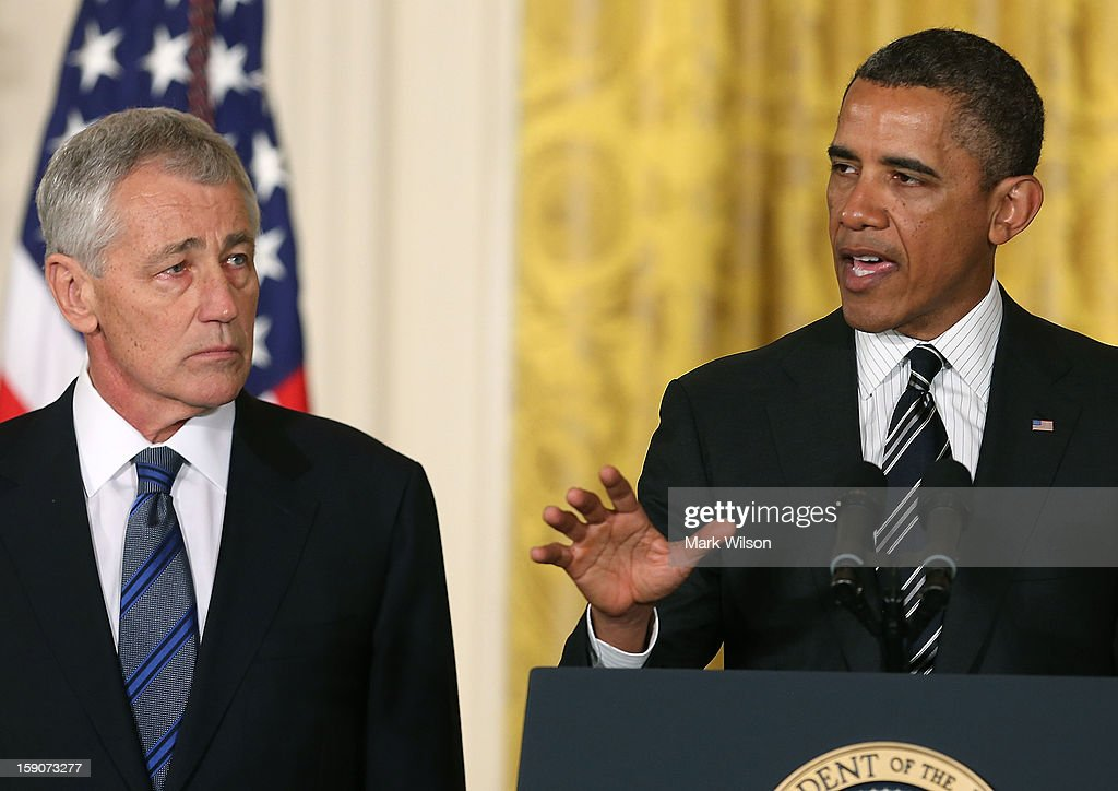 U.S. President Barack Obama (R) nominates former U.S. Sen. Chuck Hagel (R-NE) (L) to be Defense Secretary during an event in the East Room at the White House on January 7, 2013 in Washington, DC. Pending approval by the Senate, the nomination of former U.S. Sen. Chuck Hagel (R-NE) as Secretary of Defense will replace Leon Panetta.
