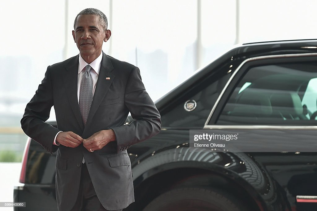 President Barack Obama of the US arrives at the Hangzhou Exhibition Center to participate in G20 Summit, on September 4, 2016 in Hangzhou, China. World leaders are gathering in Hangzhou for the 11th G20 Leaders Summit from September 4 to 5.