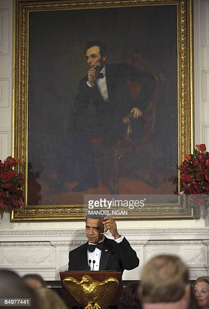 President Barack Obama offers a toast February 22, 2009 during the 2009 Governors� Dinner in the State Dining Room of the White House in Washington,...