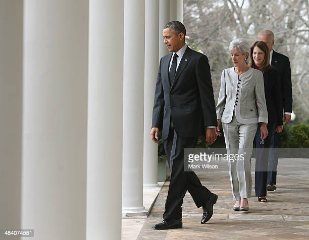 US President Barack Obama outgoing Health and Human Services Secretary Kathleen Sebelius Director of the White House Office of Management and Budget...